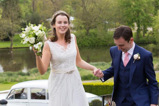 Helen Wearing Opal lace wedding dress .j