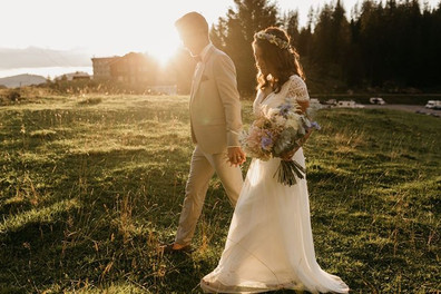 Susana, real bride wearing Leda