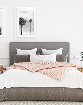 Grey Bed with Quilt