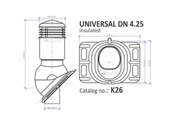 ROOF VENT UNIVERSAL INSULATED