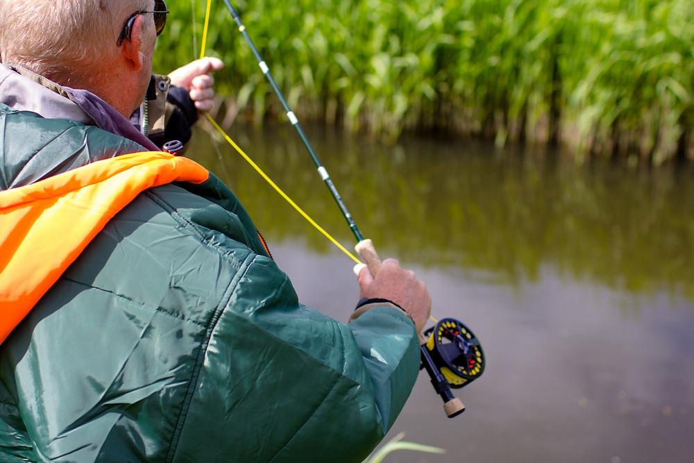 Fishing while wearing a Sittingsuit
