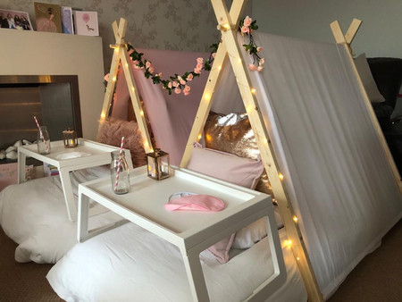 rose gold and blush pink sleepover