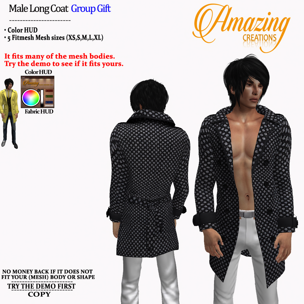 AmAzINg CrEaTiOnS Male Long Coat Group G