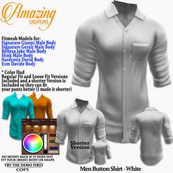 AmAzInG CrEaTiOnS Men Button Shirt White