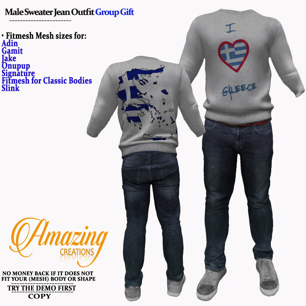 AmAzInG CrEaTiOnS Male Sweater Jean Outf