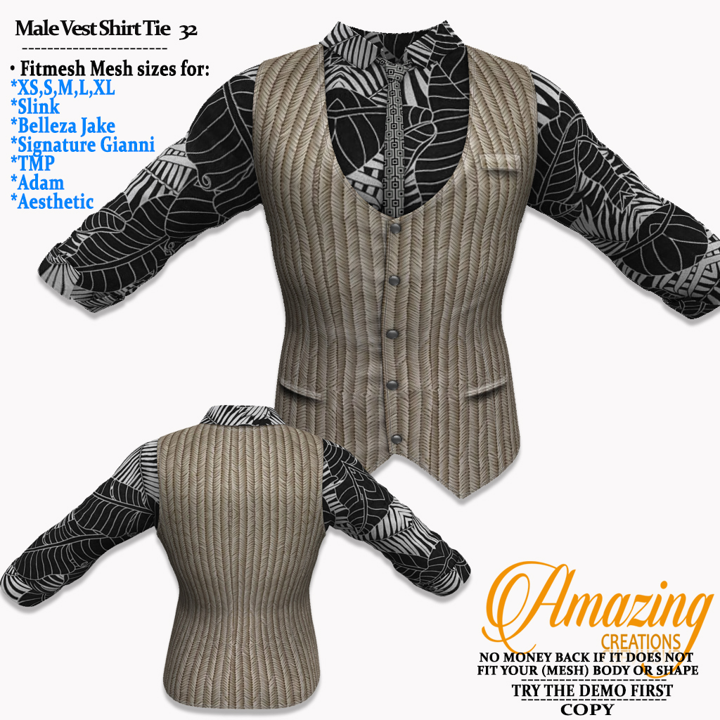 AmAzInG CrEaTiOnS Male Vest Shirt Tie 32