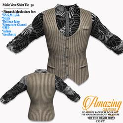 AmAzInG CrEaTiOnS Male Vest Shirt Tie 32