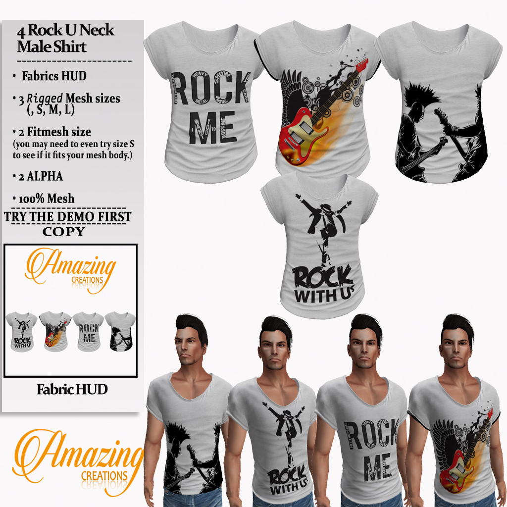 AmAzInG CrEaTiOnS 4 Rock U Neck Male Shi