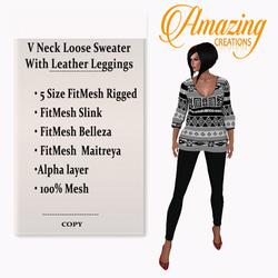 AmAzInG CrEaTiOnS V Neck Loose Sweater