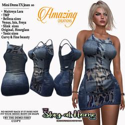 AmAzInG CrEaTiOnS Mini Dress TX Jean 10.