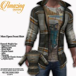 AmAzInG CrEaTiOnS  Men Open Front Shirt
