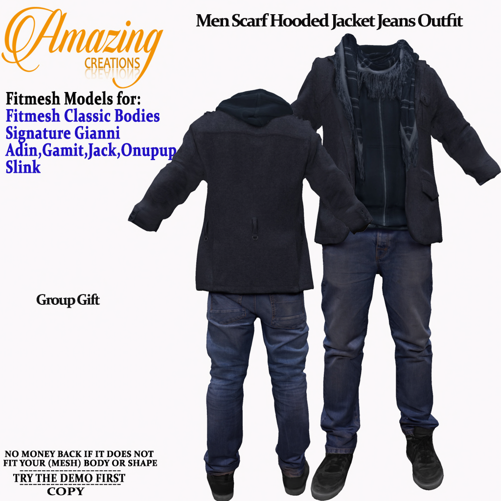 AmAzInG CrEaTiOnS Men Scarf Hooded Jacke