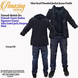 AmAzInG CrEaTiOnS Men Scarf Hooded Jacke