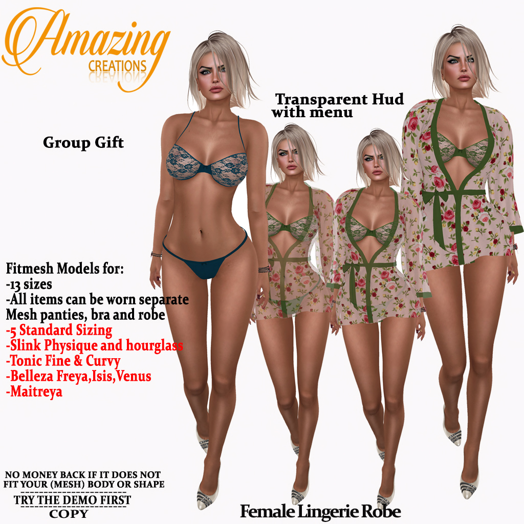 AmAzInG CrEaTiOnS Female Lingerie Robe G
