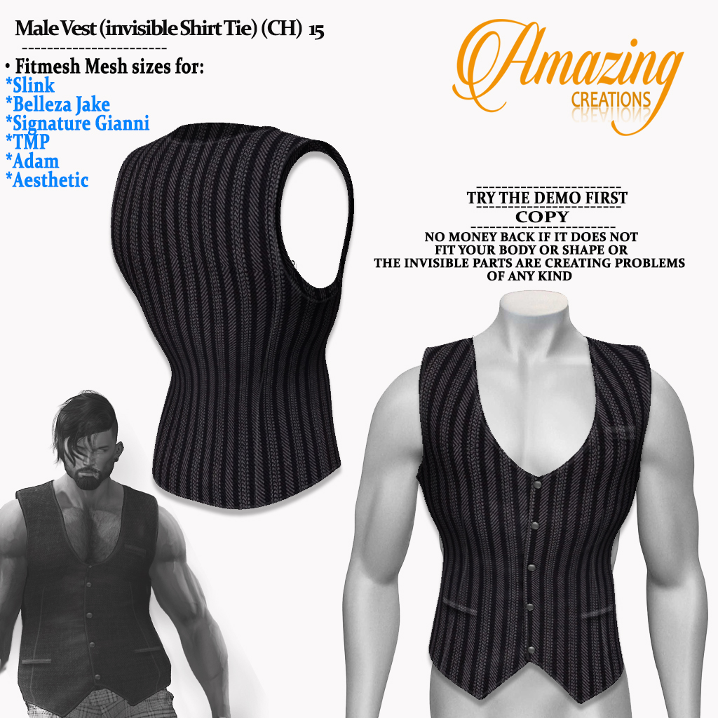 Male Vest (invisible Shirt Tie) (CH)   1
