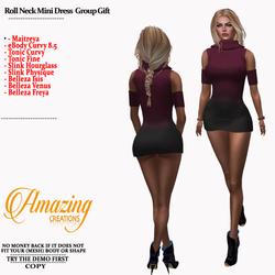AmAzInG CrEaTiOnS Roll Neck Mini Dress G