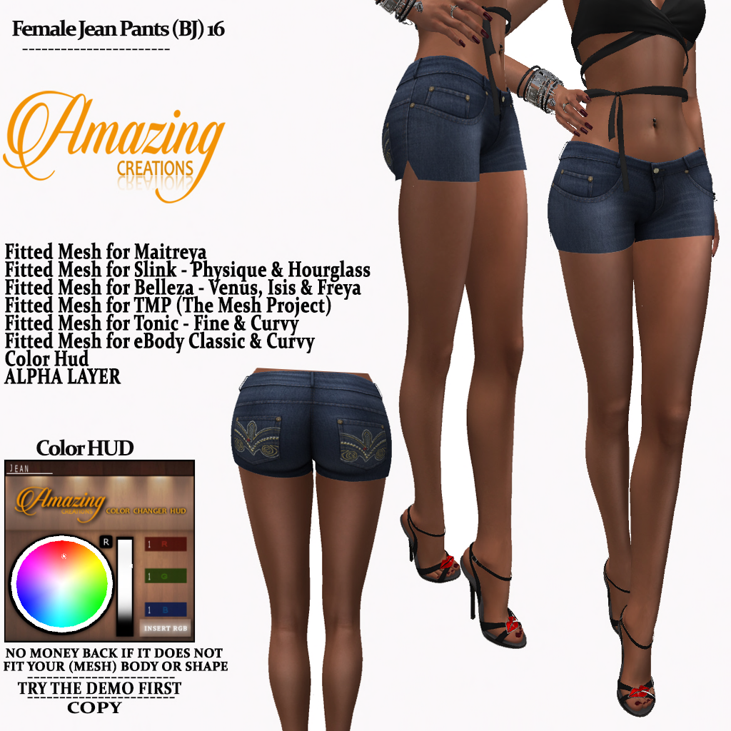 AmAzINg CrEaTiOnS Female Jean Pants (BJ)
