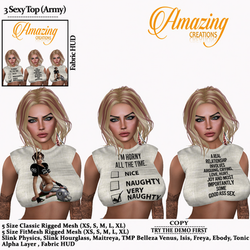 AmAzINg CrEaTiOnS 3 Sexy Top (Army)pic