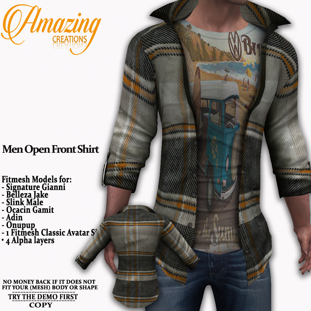 AmAzInG CrEaTiOnS Men Open Front Shirt G