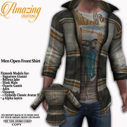 AmAzInG CrEaTiOnS Men Open Front Shirt G