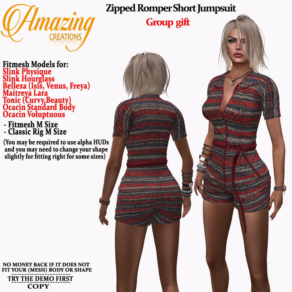 AmAzInG CrEaTiOnS Zipped Romper Short Ju