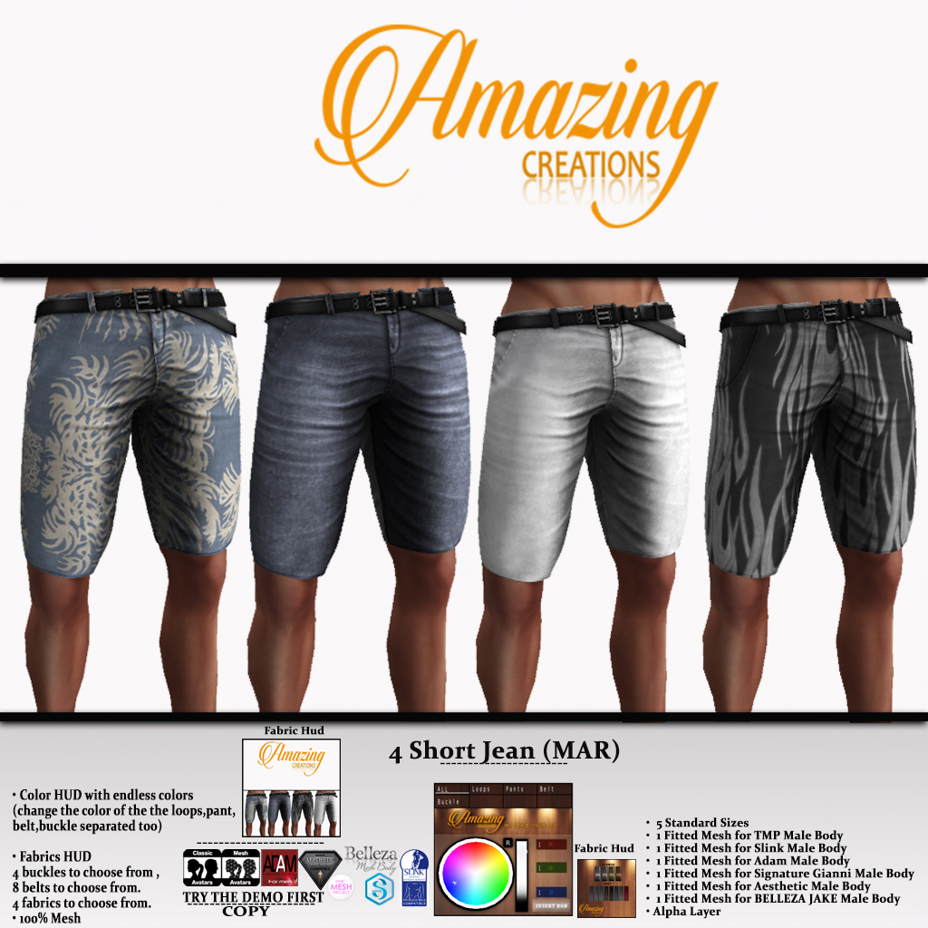 AmAzInG CrEaTiOnS Male 4 Short Jean (MAR