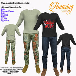 AmAzInG CrEaTiOnS Men Sweater Jeans Boot