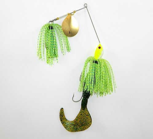 Cod Cruncher Spinnerbait Chartreuse Blue Glitter Scale