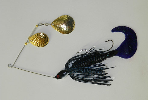 Spinnerbait - Black Blue Glitter Scale