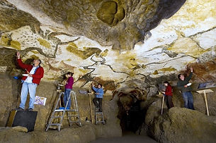 Artist restoring Lascaux Cave paintings