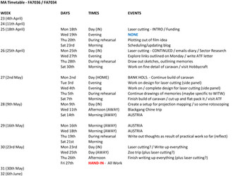 FA7034 - Personal Timetable