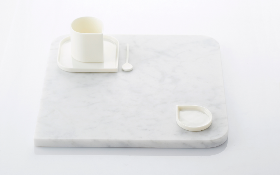 PORCELAIN CUPS WITH MARBLE  BOARD- foudefeu