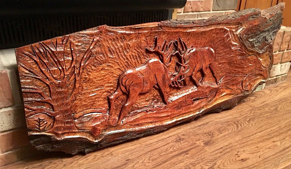TWO CHAIN SAW HAND CARVED FIGHTING ELK/ WILDLIFE SCENE MESQUITE WALL HANGINGS
