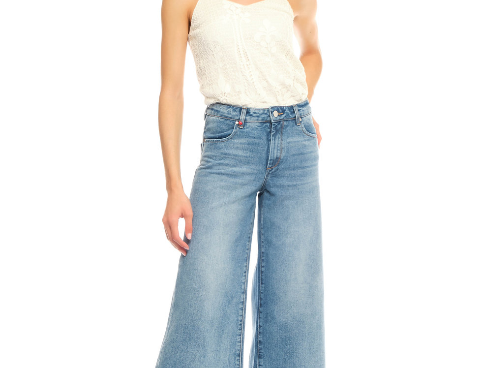 Jeans wide cropped FANNY Bleu