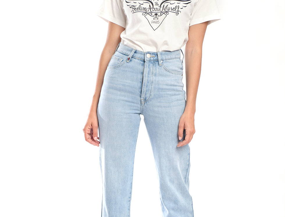 Jeans straight cropped POLA Light Blue