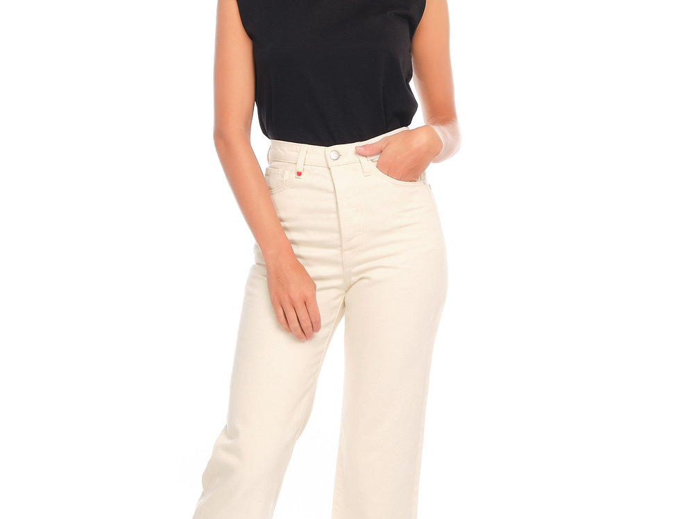 Jeans straight cropped POLA Greige