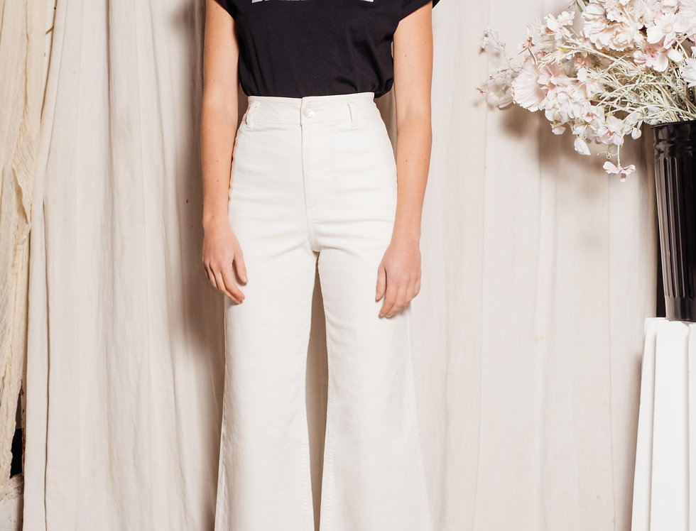 Jeans wide cropped FAUVE