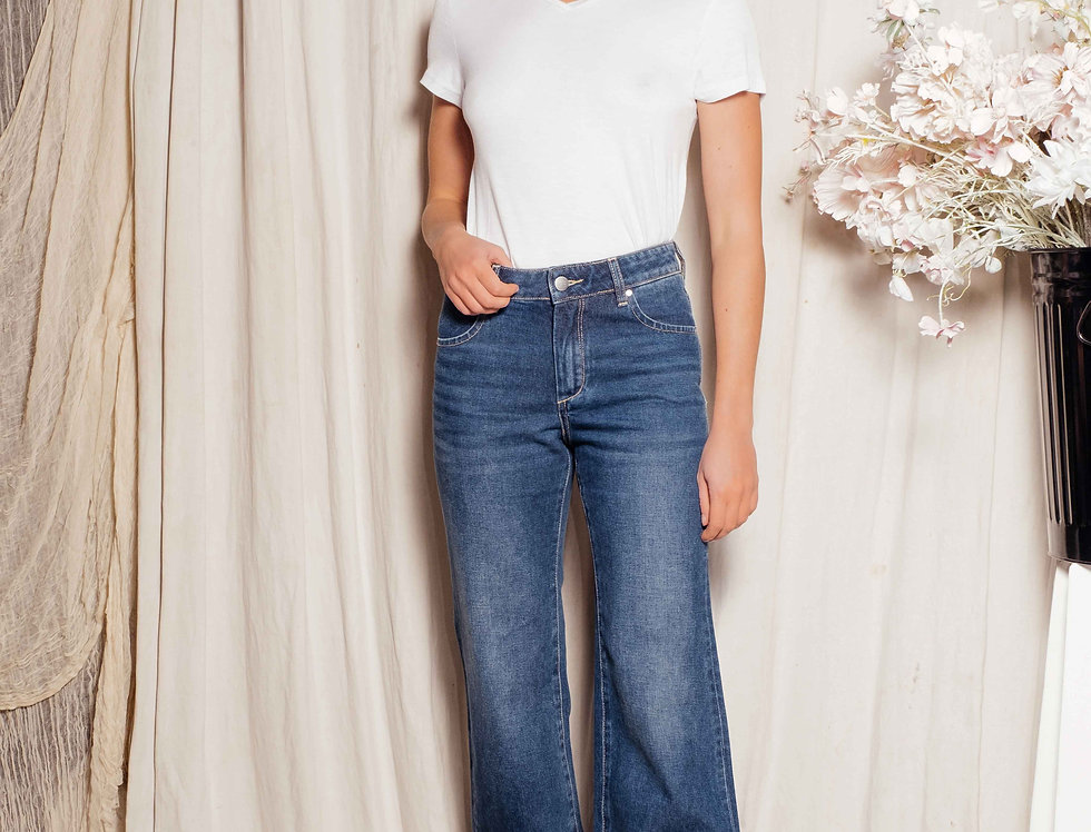 Jeans wide cropped Fit FLO Stone