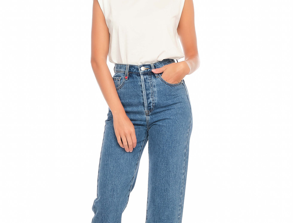 Jeans straight cropped POLA Stone