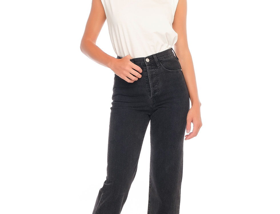 Jeans straight cropped POLA Black