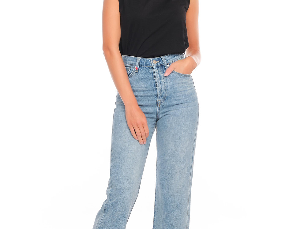 Jeans straight cropped POLA Blue
