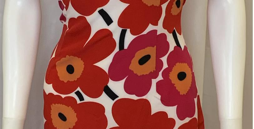 Shein Red/Orange Flower Print Poppy Tank Dress