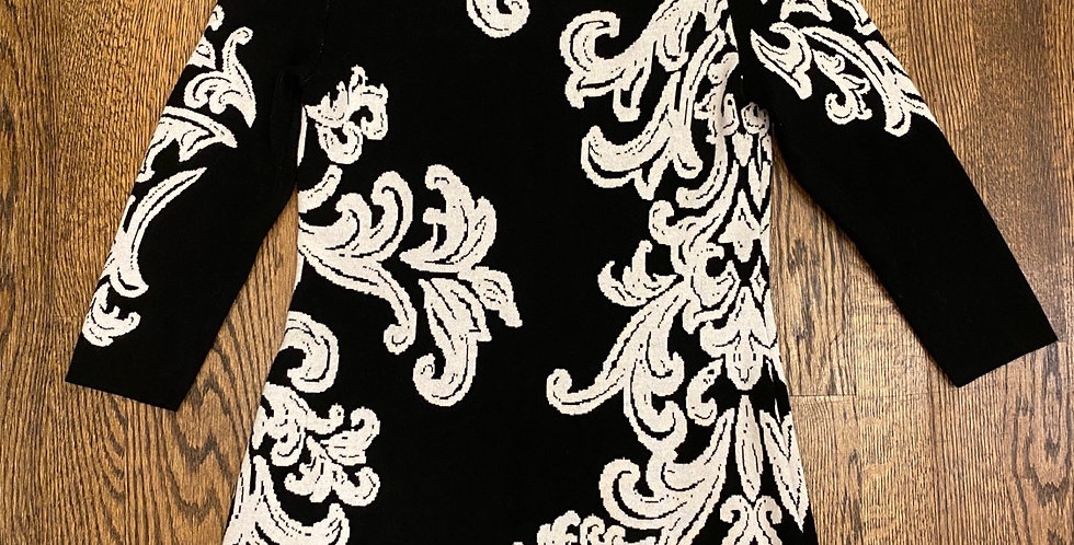 Soft Knit Black & White Floral Print Stretch Dress