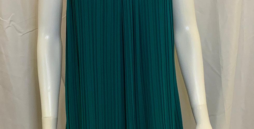 Vestique Solid Green Pleated Tank Dress