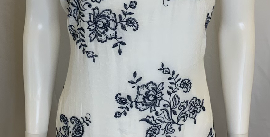 CX White Flower Embroidered Dress