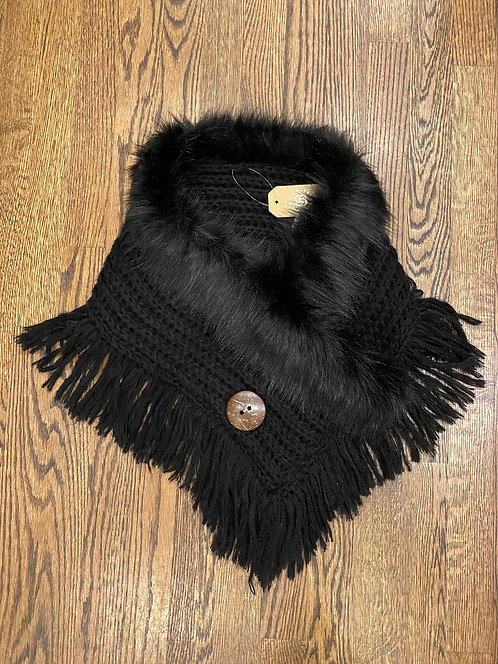 NEW black faux fur neck scarf