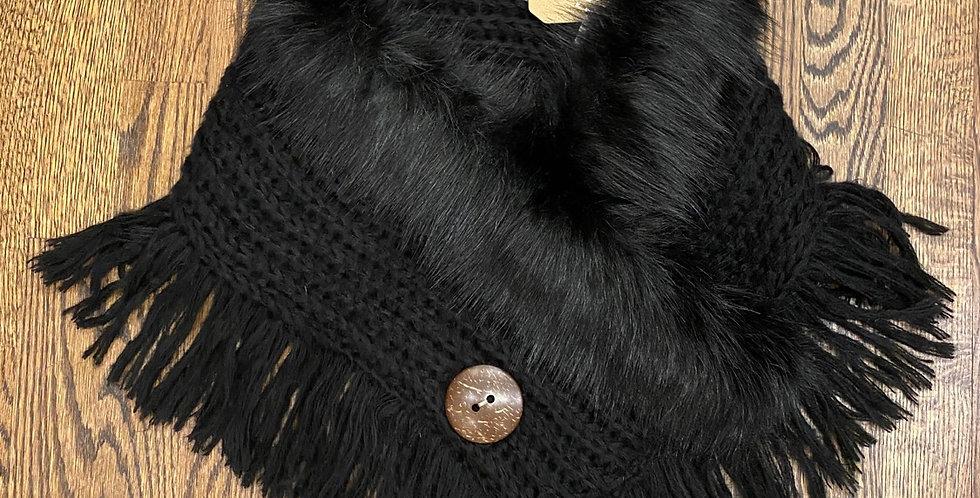 NEW Black Faux Fur Black Scarf