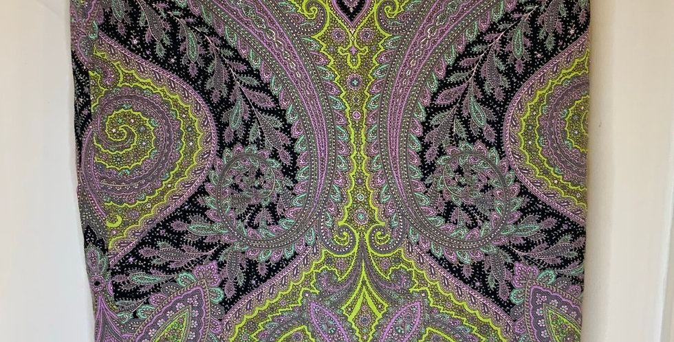 JCrew Green/Purple/Blue Paisly Print Skirt