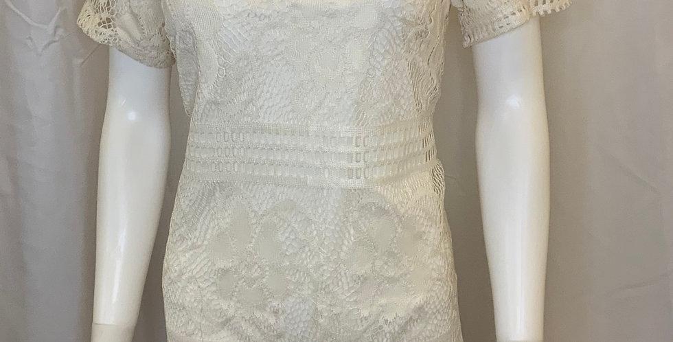 A.n.n.a Ivory Tank Overlay Lace Dress
