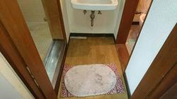 改修前の在来浴室の木造扉沓摺と脱衣所
